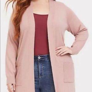 Torrid  Hacci Wool Blend Open Cardigan Pink Sweater Plus/ 2X